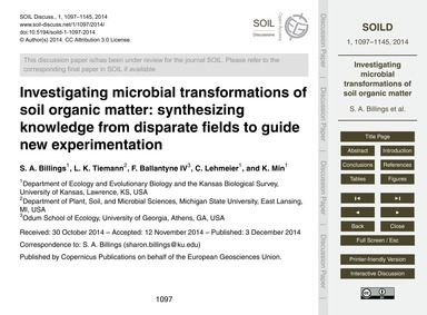 Investigating Microbial Transformations ... by Billings, S. A.