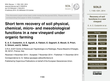 Short Term Recovery of Soil Physical, Ch... by Costantini, E. A. C.