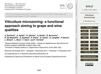 Viticulture Microzoning: a Functional Ap... by Bonfante, A.