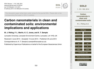 Carbon Nanomaterials in Clean and Contam... by Riding, M. J.