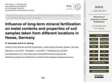Influence of Long-term Mineral Fertiliza... by Czarnecki, S.
