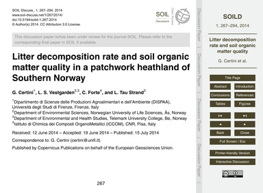 Litter Decomposition Rate and Soil Organ... by Certini, G.