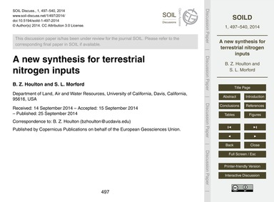A New Synthesis for Terrestrial Nitrogen... by Houlton, B. Z.