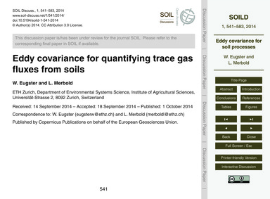 Eddy Covariance for Quantifying Trace Ga... by Eugster, W.