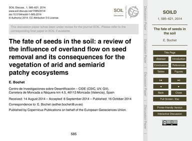 The Fate of Seeds in the Soil: a Review ... by Bochet, E.