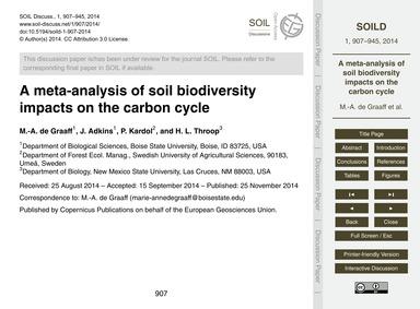 A Meta-analysis of Soil Biodiversity Imp... by De Graaff, M.-a.