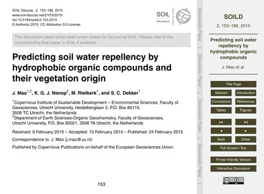Predicting Soil Water Repellency by Hydr... by Mao, J.