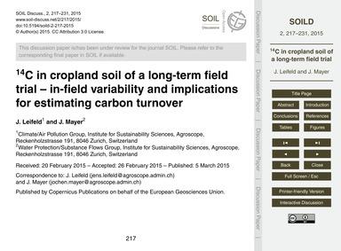 14C in Cropland Soil of a Long-term Fiel... by Leifeld, J.