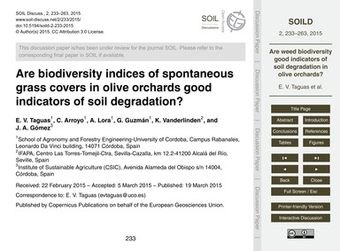 Are Biodiversity Indices of Spontaneous ... by Taguas, E. V.