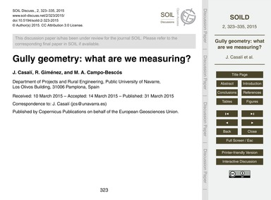 Gully Geometry: What Are We Measuring? :... by Casalí, J.
