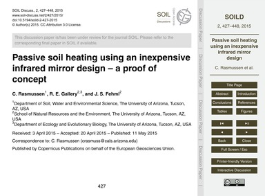 Passive Soil Heating Using an Inexpensiv... by Rasmussen, C.
