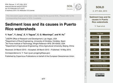 Sediment Loss and Its Causes in Puerto R... by Yuan, Y.
