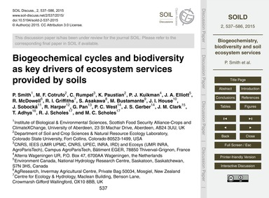 Biogeochemical Cycles and Biodiversity a... by Smith, P.