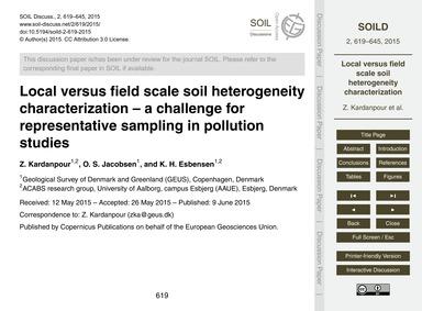 Local Versus Field Scale Soil Heterogene... by Kardanpour, Z.