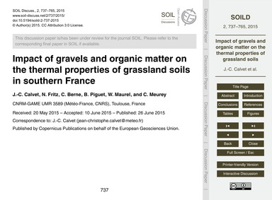 Impact of Gravels and Organic Matter on ... by Calvet, J.-c.