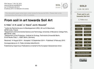 From Soil in Art Towards Soil Art : Volu... by Feller, C.