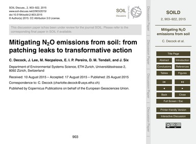 Mitigating N2O Emissions from Soil: from... by Decock, C.