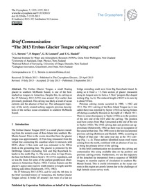 Brief Communication the 2013 Erebus Glac... by Stevens, C. L.