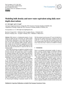 Modeling Bulk Density and Snow Water Equ... by McCreight, J. L.