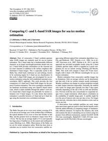 Comparing C- and L-band Sar Images for S... by Lehtiranta, J.