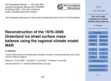 Reconstruction of the 1979–2006 Greenlan... by Fettweis, X.