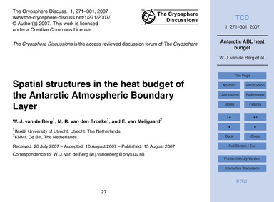 Spatial Structures in the Heat Budget of... by Van De Berg, W. J.