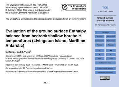 Evaluation of the Ground Surface Enthalp... by Ramos, M.