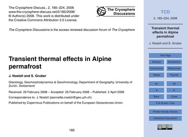Transient Thermal Effects in Alpine Perm... by Noetzli, J.