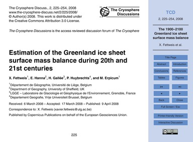 Estimation of the Greenland Ice Sheet Su... by Fettweis, X.