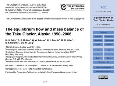 The Equilibrium Flow and Mass Balance of... by Pelto, M. S.