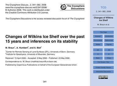 Changes of Wilkins Ice Shelf Over the Pa... by Braun, M.