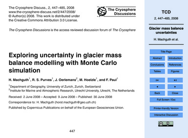 Exploring Uncertainty in Glacier Mass Ba... by MacHguth, H.