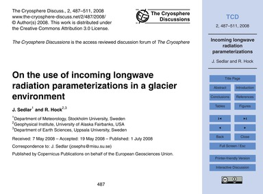 On the Use of Incoming Longwave Radiatio... by Sedlar, J.