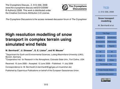 High Resolution Modelling of Snow Transp... by Bernhardt, M.
