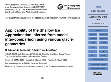 Applicability of the Shallow Ice Approxi... by Schäfer, M.