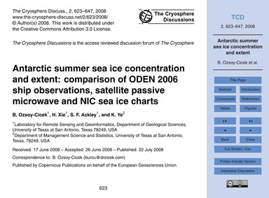 Antarctic Summer Sea Ice Concentration a... by Ozsoy-cicek, B.