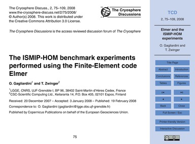 The Ismip-hom Benchmark Experiments Perf... by Gagliardini, O.
