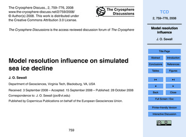 Model Resolution Influence on Simulated ... by Sewall, J. O.
