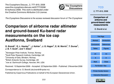 Comparison of Airborne Radar Altimeter a... by Brandt, O.