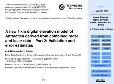 A New 1 Km Digital Elevation Model of An... by Griggs, J. A.
