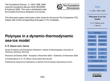 Polynyas in a Dynamic-thermodynamic Sea-... by Ólason, E. Ö.