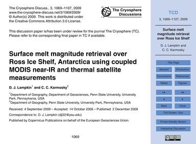 Surface Melt Magnitude Retrieval Over Ro... by Lampkin, D. J.