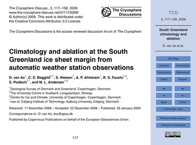 Climatology and Ablation at the South Gr... by Van As, D.