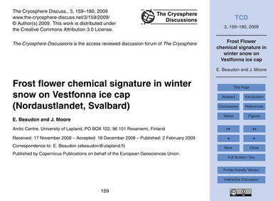 Frost Flower Chemical Signature in Winte... by Beaudon, E.