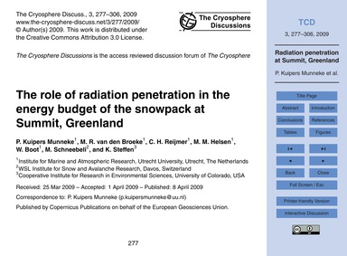 The Role of Radiation Penetration in the... by Kuipers Munneke, P.