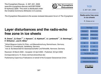 Layer Disturbances and the Radio-echo Fr... by Drews, R.