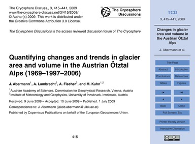 Quantifying Changes and Trends in Glacie... by Abermann, J.