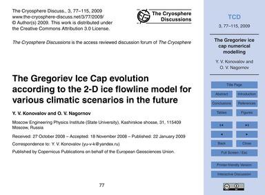 The Gregoriev Ice Cap Evolution Accordin... by Konovalov, Y. V.