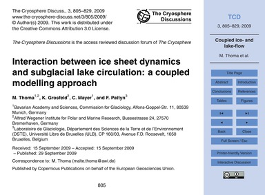 Interaction Between Ice Sheet Dynamics a... by Thoma, M.