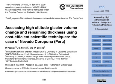 Assessing High Altitude Glacier Volume C... by Peduzzi, P.